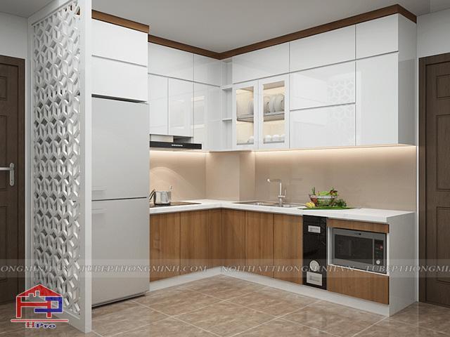 Ảnh thiết kế 3D tủ bếp acrylic kết hợp laminate An Cường nhà chị Huyền - Hoàng Cầu