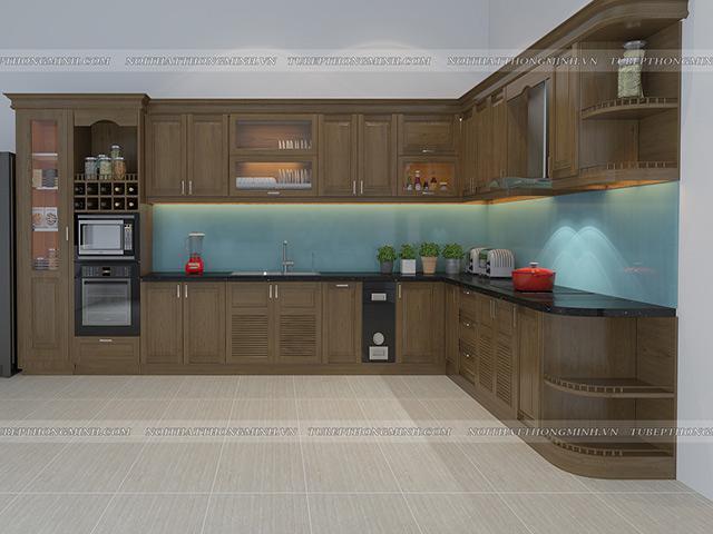 Ảnh thiết kế 3D tủ bếp gỗ sồi mỹ nhà anh Mẫn - hải Dương