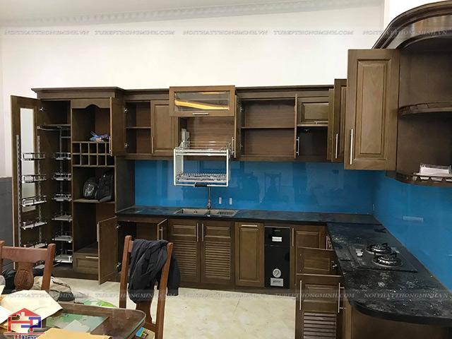 Hình ảnh thực tế tủ bếp gỗ sồi mỹ nhà anh Mẫn - Hải Dương