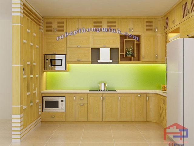 Tủ bếp gỗ sồi Nga cao cấp, bền đẹp