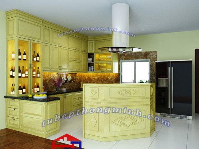 Nội thất phòng bếp bằng gỗ sồi nga tự nhiên trẻ trung, hiện đại