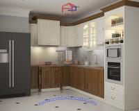 Tủ bếp gỗ xoan đào sơn trắng nhà anh Đạt