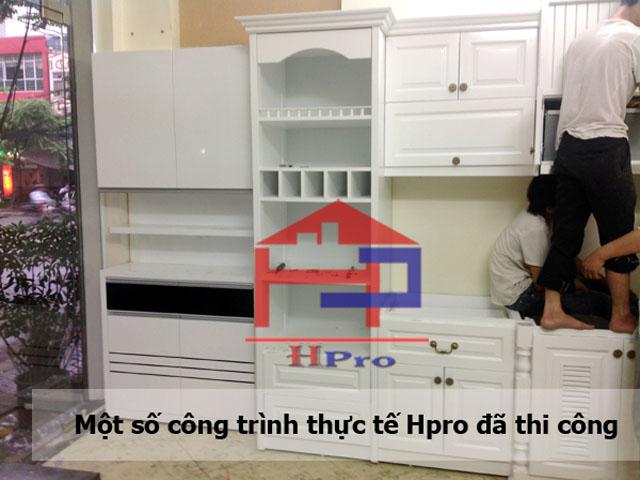 Hpro thi công lắp đặt tủ bếp gỗ sồi nga sơn tráng