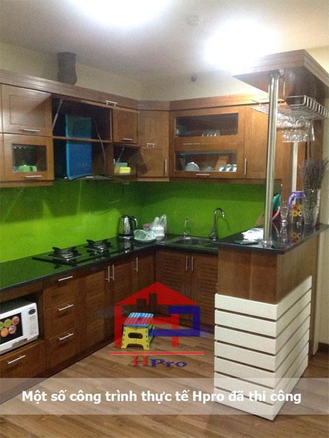 Ảnh thực tế sản phẩm tủ bếp gỗ sồi mỹ do Hpro thiết kế và thi công