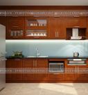 Mẫu tủ bếp gỗ xoan đào chữ I dành cho không gian bếp nhỏ hẹp nhà chung cư