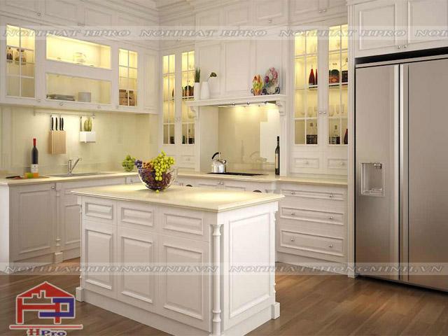 Tủ bếp gỗ sồi mỹ trắng phong cách Châu Âu