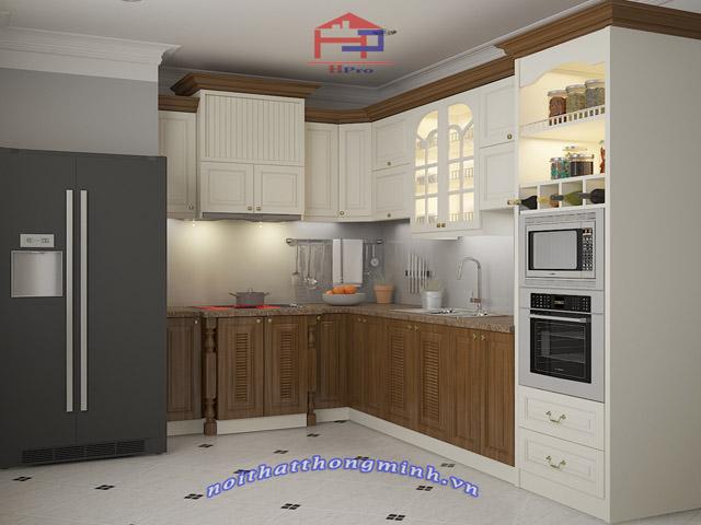 Bản thiết kế 3D tủ bếp gỗ xoan đào sơn trắng nhà anh Đạt