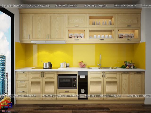 Mẫu tủ bếp đẹp hà nội bằng gỗ sồi nga tự nhiên