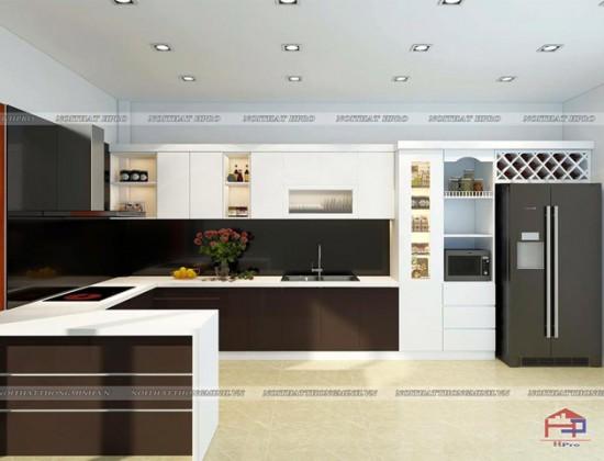 Tủ bếp Acrylic nhà chị Hằng - Lào Cai
