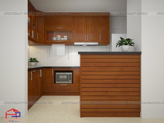 Tủ bếp gỗ xoan đào chữ L với cách bố trí khoa học