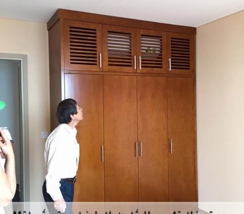 Tủ quần áo gỗ xoan đào nhà chú Sáng