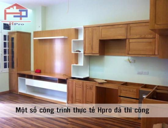 Tủ bếp gỗ xoan đào nhà chú Sáng