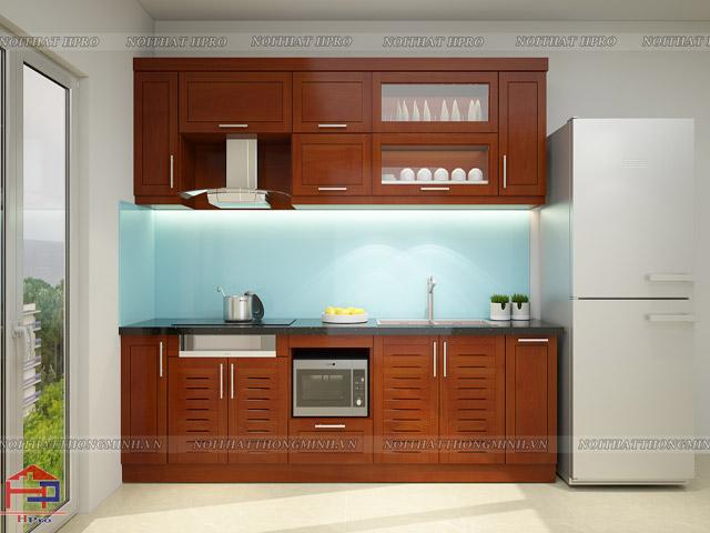Tủ bếp gỗ xoan đào thiết kế nhỏ gọn nhưng công năng cao