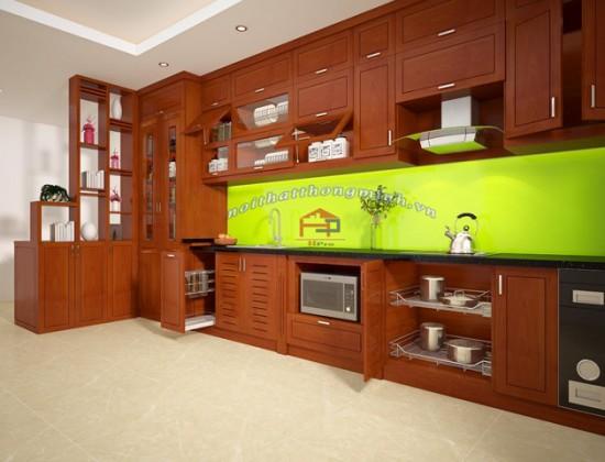 Bản thiết kế 3D tủ bếp xoan đào nhà chị Loan