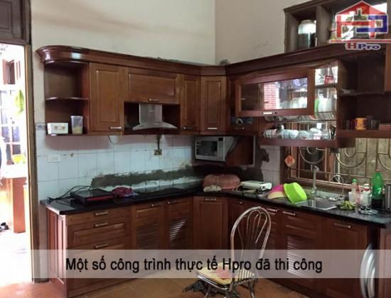 Công trình tủ bếp xoan đào nhà cô Huệ - Thanh Xuân