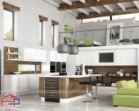 Kệ tủ bếp hiện đại làm bằng gỗ công nghiệp