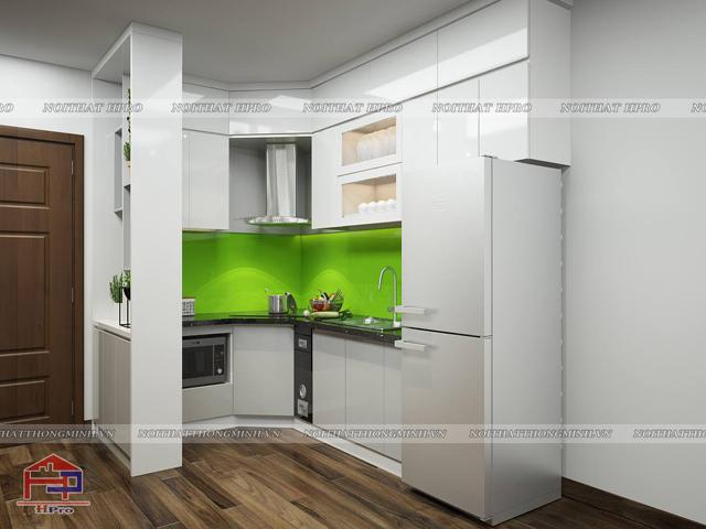 Tủ bếp gỗ công nghiệp màu trắng thiết kế nhỏ gọn