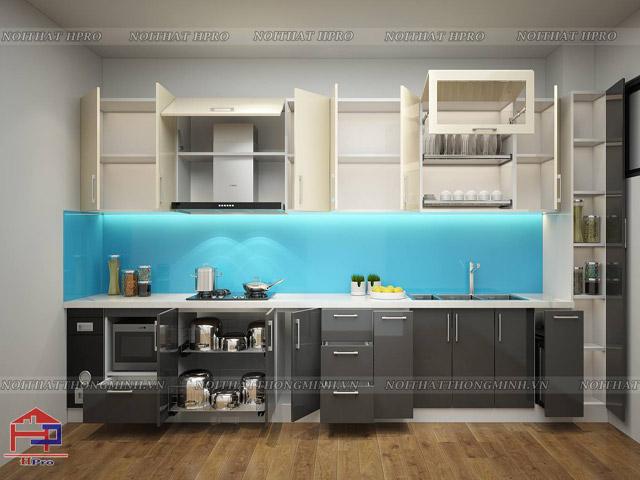Tủ bếp gỗ công nghiệp Acrylic được tích hợp phụ kiện thông minh