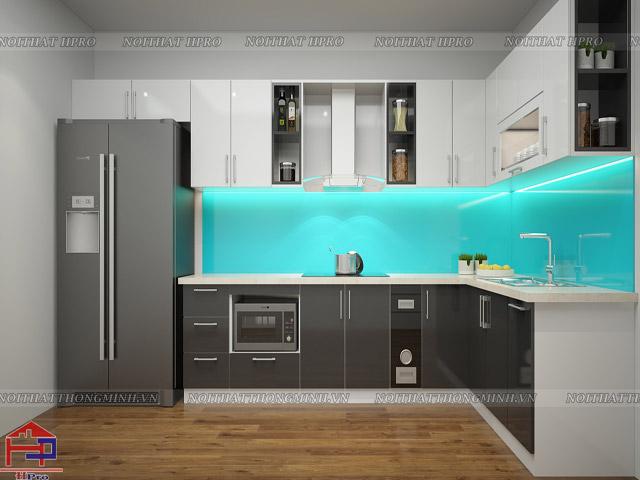 Mẫu tủ bếp chung cư hiện đại sang trọng