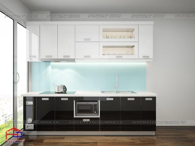 Mẫu tủ bếp mini bằng chất liệu gỗ công nghiệp Acrylic bóng gương