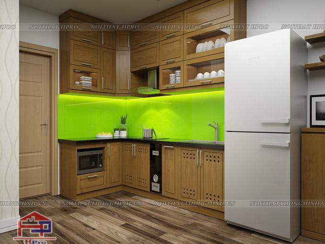 Tủ bếp mini với thiết kế kịch trần