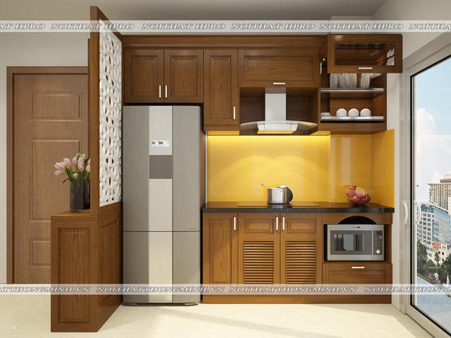 Bộ tủ bếp gỗ sồi mỹ kèm vách ngăn tiện dụng