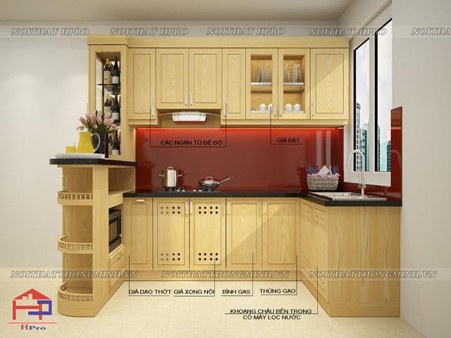 Tủ bếp mini với thiết kế quầy bar đa năng