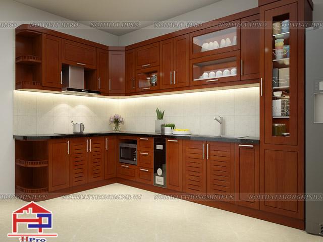 Ảnh 3D mẫu tủ bếp nhà chị Vượng