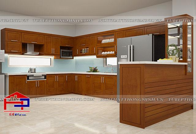 Ảnh thiết kế 3D tủ bếp gỗ xoan đào tự nhiên nhà anh Cường- Đông Anh- Hà Nội