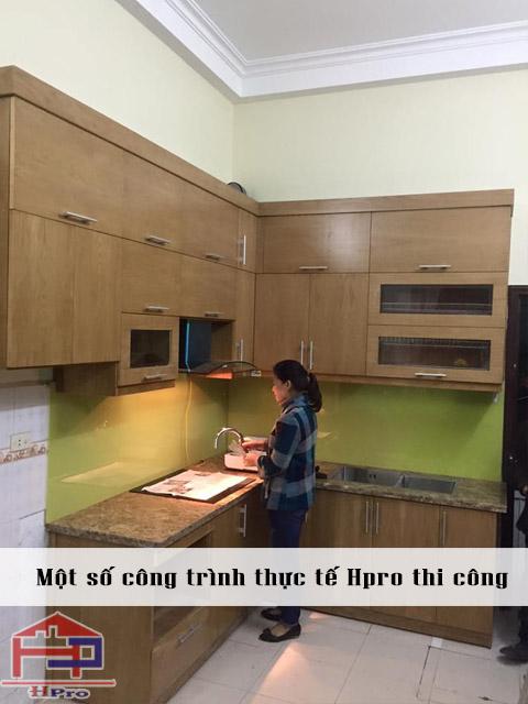 Công trình tủ bếp gỗ Veneer sồi Mỹ nhà anh Thắng - Thanh Liệt, Hoàng Mai