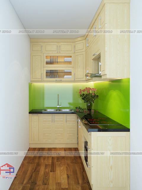 Bộ tủ bếp gỗ mini dáng chữ L tiện dụng