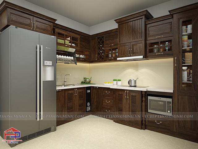 Tủ bếp đẹp hà nội chất liệu gỗ óc chó tự nhiên