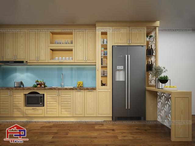 Tủ bếp gỗ sồi Nga trẻ trung, hiện đại