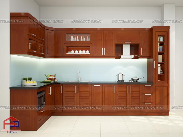 Tủ bếp gỗ xoan đào Hoàng Anh bền đẹp, sang trọng