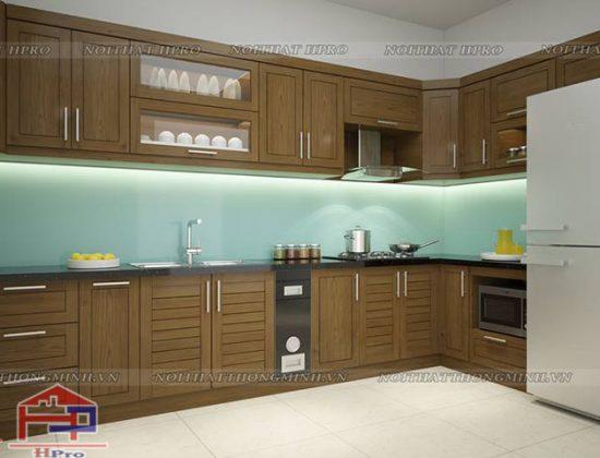 Tủ bếp sồi Mỹ nhà anh Hoàn - Long Biên