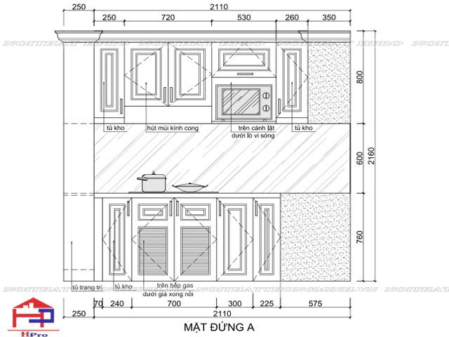 Kích thước các cánh tủ bếp tiêu chuẩn