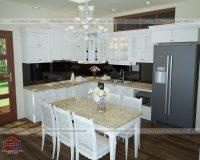 Top 10 mẫu tủ bếp gỗ tự nhiên sơn trắng sang trọng thể hiện sự đẳng cấp