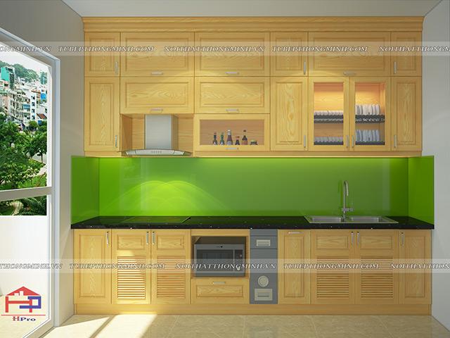 Ảnh thiết kế tủ bếp gỗ sồi nga nhà chú Mai
