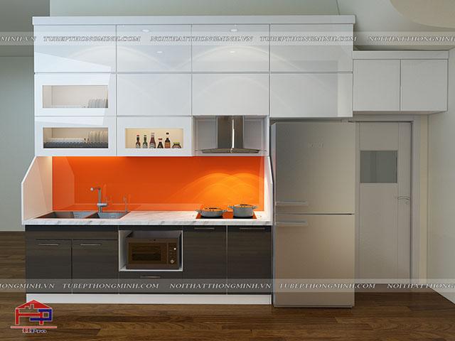 Cách trang trí nhà bếp đơn giản bằng tủ bếp chất liệu acrylic bóng gương với màu sắc cực hút mắt