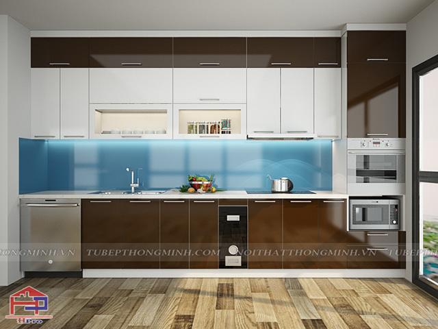 Nhà bếp đơn giản mà đẹp tinh tế với tủ bếp acrylic bề mặt sáng bóng như gương