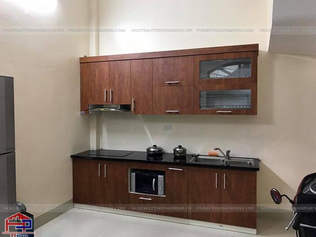 Ảnh thực tế tủ bếp laminate nhà chị Vinh do Hpro thiết kế và thi công hoàn thiện