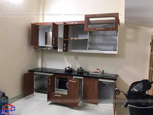 Hình ảnh thực tế tủ bếp laminate nhà chị Vinh sau khi Hpro hoàn thiện thi công lắp đặt