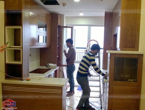 Thi công tủ bếp gỗ sồi mỹ nhà anh Mạnh