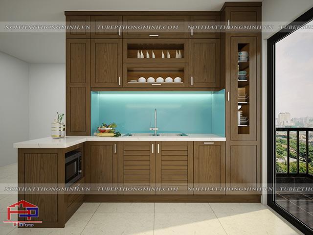 Thiết kế 3D tủ bếp gỗ sồi mỹ nhà anh Mạnh