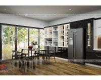 Thiết kế nội thất phòng bếp gỗ acrylic an cường cao cấp nhà ạnh Hạnh- Hà Nam