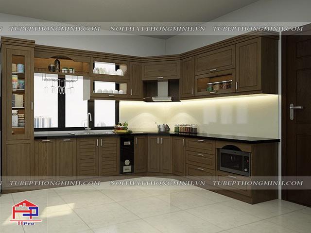 Ảnh thiết kế tủ bếp gỗ sồi mỹ nhà anh Lệ- Sao Đỏ- Chí Linh- Hải Dương