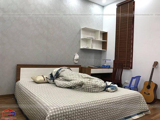 Giường ngủ và bàn học gỗ melamine An Cường phòng bé trai