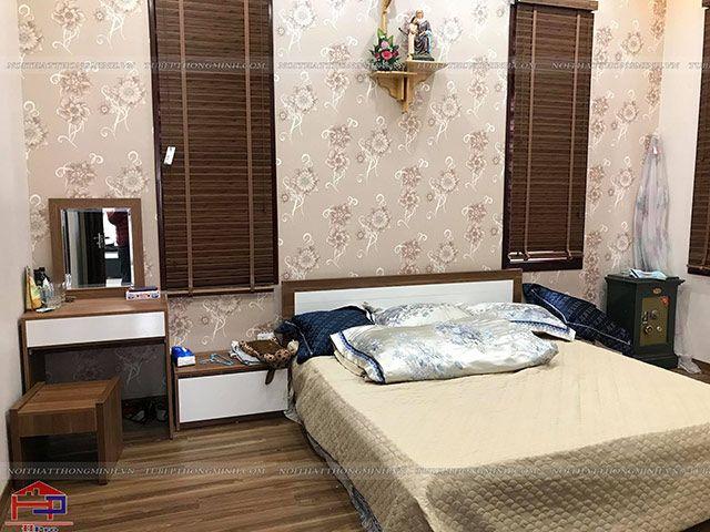 Ảnh thực tế giường ngủ và bàn phấn gỗ melamine An Cường