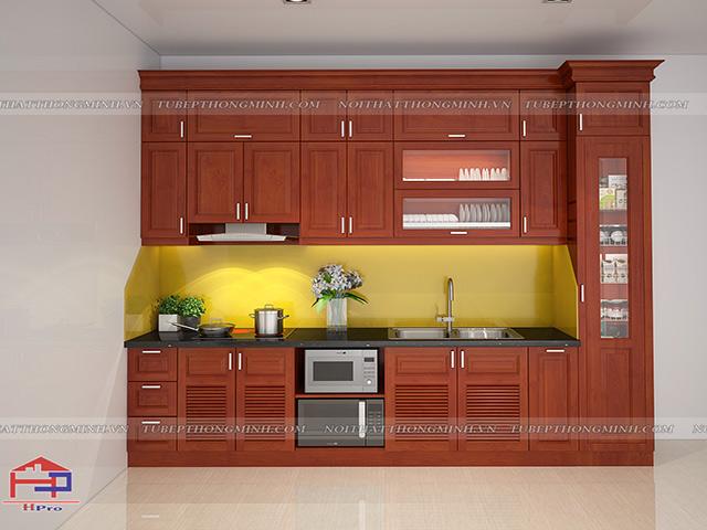Hình ảnh thiết kế 3D tủ bếp gỗ xoan đào nhà anh sơn- Dục Tú- Đông Anh