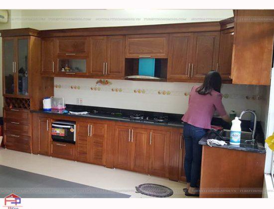Hpro hoàn thiện tủ bếp gỗ xoan đào khung cánh nhà anh Việt- Đông Anh